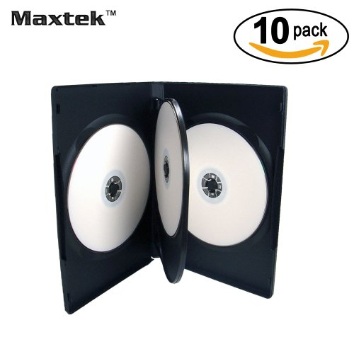10 Pack Maxtek Standard 14mm Black Quad 4 Disc DVD Cases with Double Sided Flip Tray and Outter Clear Sleeve (Double Disc Dvd Case)