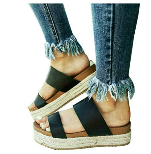 LAICIGO Womens Espadrille Wedge Heels Slip On Platform Slides Cork Peep Toe Suede Mules Sandals