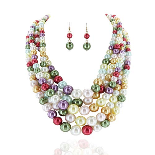 (SP Sophia Collection Women's Glossy Pearl Polished Crossover Necklace & Earrings Set in)