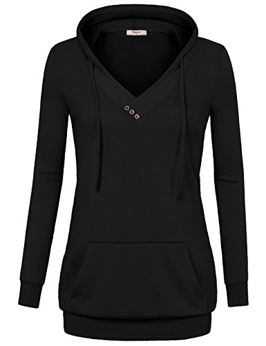 Lined V-neck Tunic - Timeson Vintage Hoodie, Women Pullover Plain Custom Lined Lightweight Tunic Sweater M Black