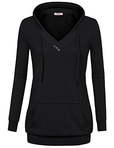 Tunic+Hoodie%2CTimeson+Women%27s+Fashion+Fitted+Long+Sleeve+V+Neck+Pullover+Sweatshirt+With+Kangaroo+Pocket+Black+L