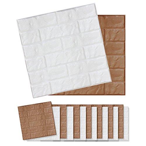 貼れる柔らかレンガパネル 16枚   セーフティーグッズ 保護パネル 安全グッズ DIY デコレーション ホワイト&ブラウン(C024-16-S3) B0756SPSP2ホワイト&ブラウン