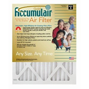 19x27x1 (Actual Size) Accumulair Gold 1-Inch Filter (MERV 8) (6 Pack)