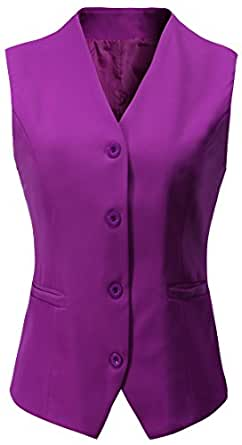 Vocni Women's Fully Lined 4 Button V-Neck Economy Dressy Suit Vest Waistcoat,Purple,US L/Asia 5XL