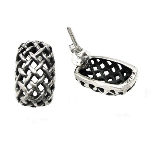 Curved Rectangular Basket Weave .925 Sterling Silver Post Earrings (Rectangular Curved)