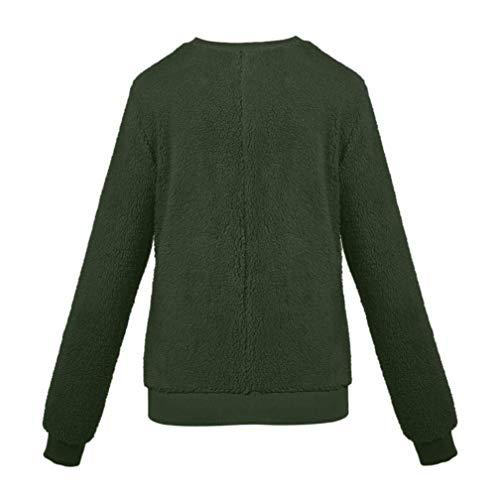 Blouse Winter Plush Sweater Imitation Lambskin Round Neck Long Sleeve Tunic Women's X-Large ()