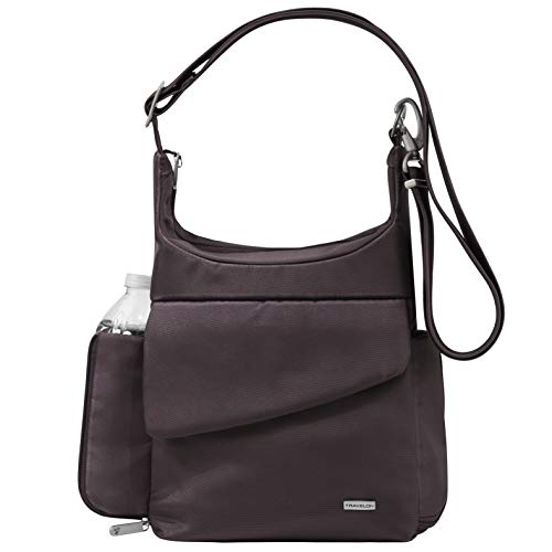 Travelon Anti-Theft Classic Messenger Bag – Exclusive Colors (One_Size, Aubergine Twill – Exclusive Color w/Khaki Lining)