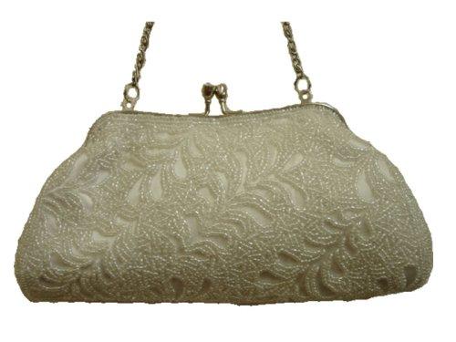 D8034 White Fully Handmade Beaded Evening handbag/purse wedding bag, Bags Central