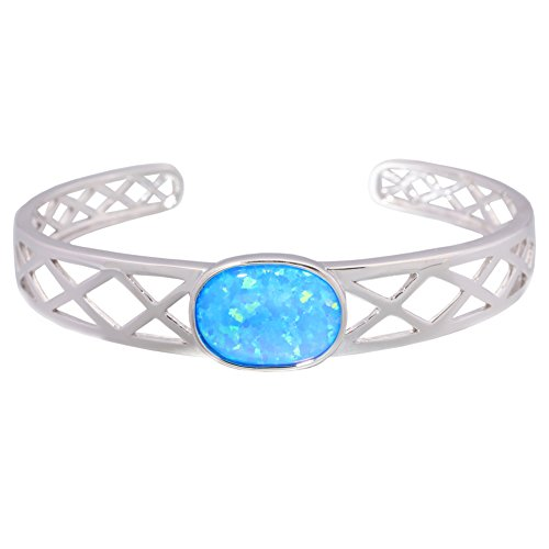 CiNily Created Blue Fire Opal Rhodium Plated for Women Jewelry Adjustable Cuff Bangle Bracelet