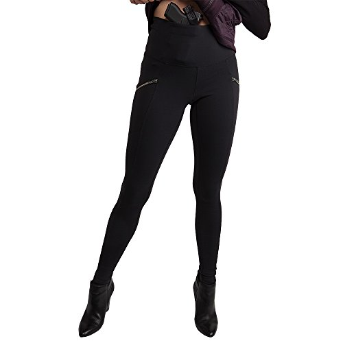 Concealed Zip Pocket - UnderTech UnderCover Women's Zip-Pocket Concealed Carry Leggings in Black (Small, right)