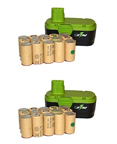 1700mah Large Battery - 2x 18 Volt Sub C 1700 mAh NiCd Batteries Cordless Drill Pack Assembly Battery