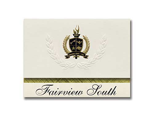 Signature Announcements Fairview South (Brookfield, WI) Graduation Announcements, Pack of 25 with Gold & Black Metallic Foil seal, 6.25