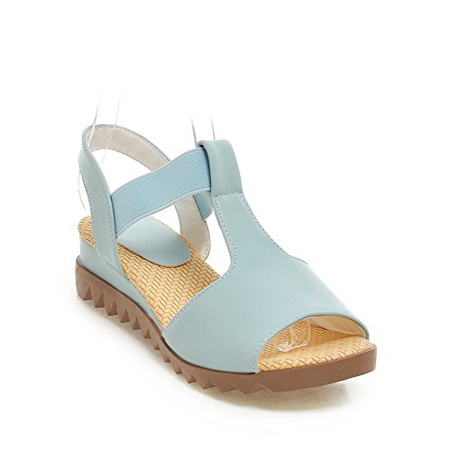 AllhqFashion Women's Solid PU Low-heels Open Toe Elastic Wedges-Sandals Blue