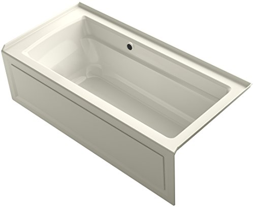 KOHLER K-1948-RAW-96 Archer 66-Inch x 32-Inch Alcove Bath with Bask Heated Surface, Integral Apron, Tile Flange, and Right-Hand Drain, Biscuit