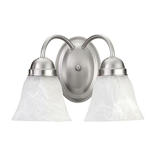 - Quorum International 5403-2-65 Vanity Lights with Alabaster Swirl Glass Shades, Satin Nickel