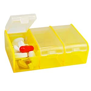 3-to-go Pill Box Organizer Color Transparent Yellow- Made in the USA