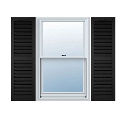 Ekena Millwork LL1S14X06000BL Lifetime Vinyl Standard Cathedral Top Center Mullion with Open Louver Shutters, 14 1/2