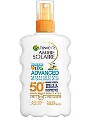 Garnier Ambre Solaire Crema Protezione Solare Advanced Sensitive Kids, Spray Ottimo per Pelli Chiare e Sensibili al Sole, Ipoallergenica, IP50+, 200 ml, Confezione da 1