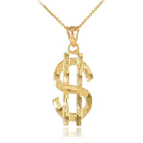 10k Yellow Gold Dollar Sign $ Bling Pendant Necklace, 22'' by Hip Hop Jewelry
