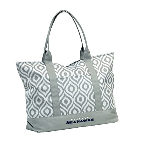 Logo Brands NFL Seattle Seahawks Ikat Tote Bag, Gray, 22