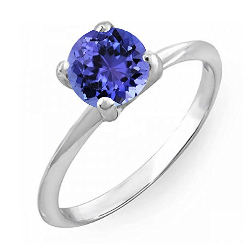 Dazzlingrock Collection 14K 7.5 MM Round Cut Tanzanite Solitaire Bridal Engagement Ring, White Gold, Size 7