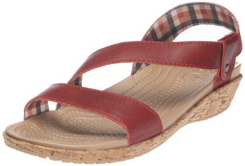 Crocs Women's A-Leigh Leather Sandal Slingbacks Scarlet/Scarlet zxr4Ut