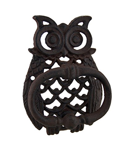 Rustic Cast Iron Filigree Owl Decorative Door Knocker