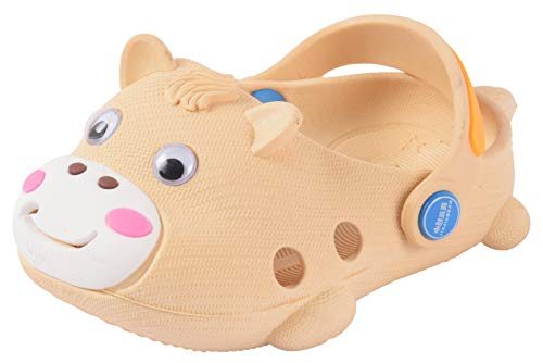 Yellow Bee Cow Pattern Clogs for Boys, Beige