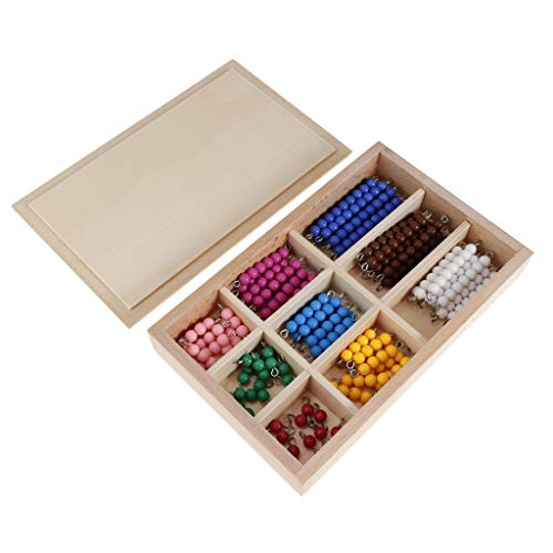 Checker Board Beads Box Set & Consecutive Numbers Counting Montessori Teens and Tens Boards Family Version, Wooden Math Toy ()