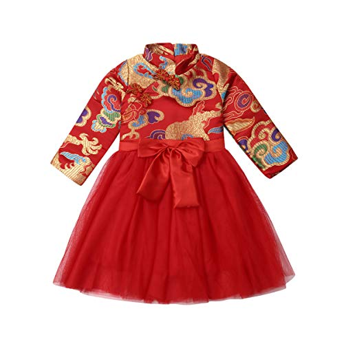 Baby Kids Girls Cheongsam Dress Long Sleeve Chinese Qipao Dress Multi-Layer Tutu Princess Dress Photography Wedding (2-3T, Red) (Chinese Chinese Dresses Dress)