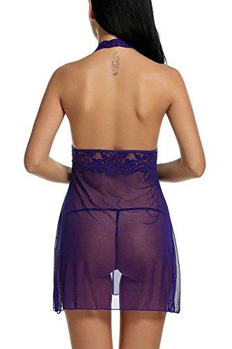 Avidlove Mujer ropa interior Sexy Vestido Halter Babydoll Encaje Púrpura