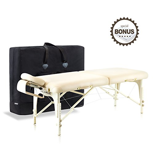 Dr.lomilomi Delux Maple Hardwood Portable Massage Table Spa Bed 101 Package (101, Vanilla)