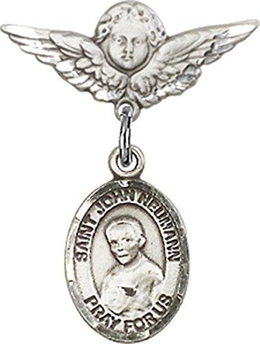 Sterling Silver Baby Badge Cherub Angel Pin with Saint John Neumann Charm, 3/4 - Pin Cherub Brooch
