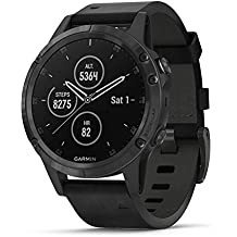 Garmin fēnix 5 Plus, Premium Multisport GPS Smartwatch, Features Color TOPO Maps, Heart Rate Monitoring, Music and Garmin Pay, Black with Leather Band