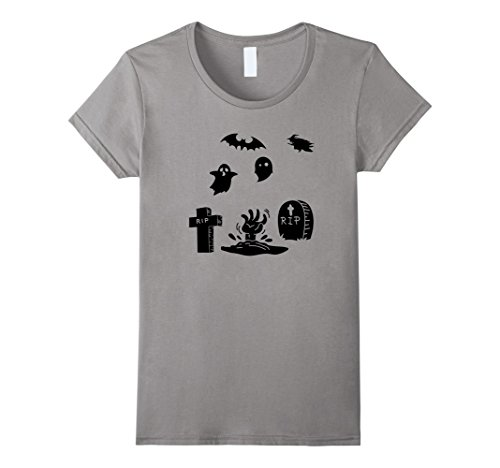Out Of The Closet Halloween Costumes (Womens Spooky graveyard Halloween costume ghost witch t-shirt XL Slate)