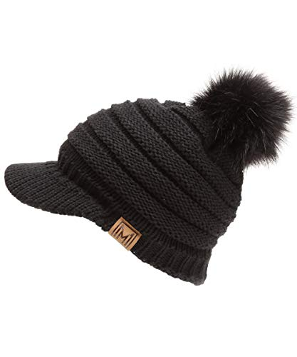 MIRMARU Womens Soft Warm Ribbed Knit Visor Brim Pom Pom Beanie Hat with Plush Lining