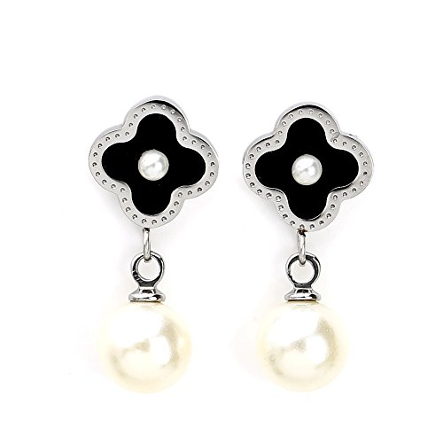 (Delicate Silver (White Gold) Tone Post Earrings with Contemporary Clover Design, Faux Pearl Center, Onyx Inlay and Drop Pearl (160003))