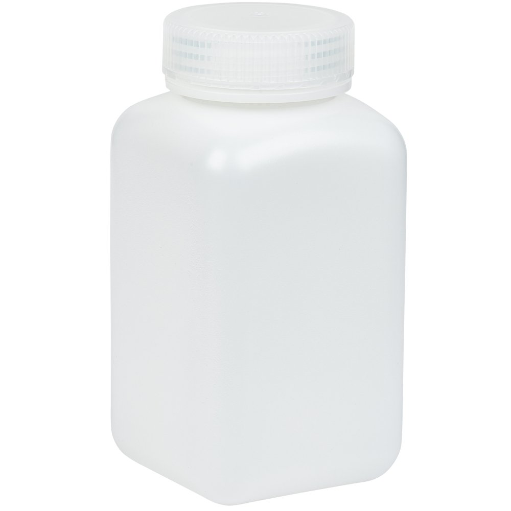 250ml Wide-Mouth Square Media Storage Bottle, HDPE Material, Screw Cap in PP Material, Leakproof, Karter Scientific 238B2 (Pack of 6)