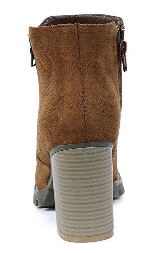 Zipper Talon Femmes Bottine Bloc Hiver Bottes Shoes Up Rond AgeeMi Haut Bout Chelsea Boots TqIxWfY