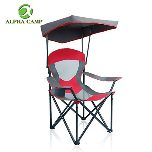 (ALPHA CAMP Mesh Canopy Chair Folding Camping Chair - Red)