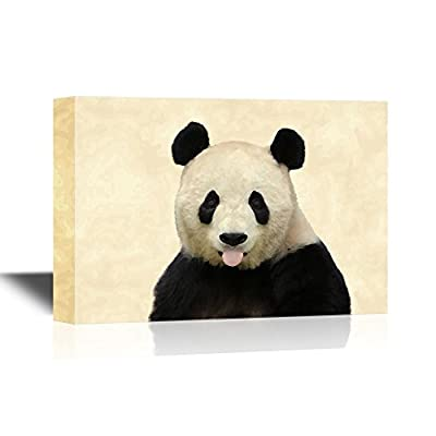 Canvas Wall Art - Cute Panda Sticking Its Tongue Out - Gallery Wrap Modern Home Art | Ready to Hang - 12x18 inches