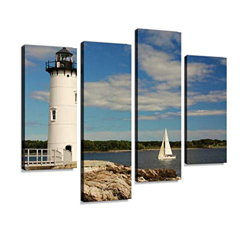 Portsmouth Harbor Lighthouse Canvas Wall Art Hanging Paintings Modern Artwork Abstract Picture Prints Home Decoration Gift Unique Designed Framed 4 Panel