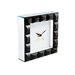 Fifth Avenue Crystal Black Jewel Square Clock