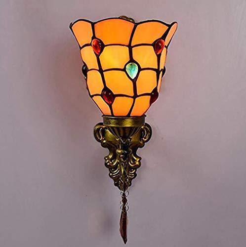 - ZIXUAA European Pastoral Phoenix Beads Single Head Wall Lamp Stained Glass Art Double Head Wall Light Bathroom Mirror Wall Lights Aisle Bedside Bracket Light E27(110v-240v)-A