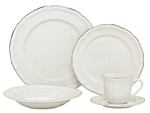 Melange Nouveau Classic Porcelain 20-Piece Place Setting, Platinum, Serving for 4 (Place Setting Platinum Piece 4)