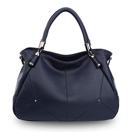 compartimentos capacidad Blue de rojo suave gran con sólido de bolsa Bolsa Black gris color viajar hombro de para mensajero azul bolso de negro de mujer Color PU FfIdwqxT