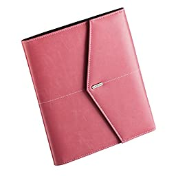 Rolodex Journal, Spiral Notebook, Faux Leather, Snap Close, File Pocket, Resilient Pink, EA - ROL1734453