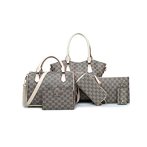 Lxyiun Fashion Women Pu Leather Hand Bag, Six Sets Of Floral Fabric Old Portable Shoulder Diagonal Package Wallet Card Pack Bag Mother Checkered, Blue White