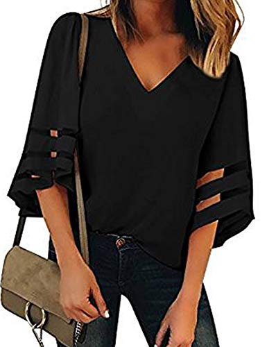 Heariao Women's V Neck Mesh Panel Blouse 3/4 Bell Sleeve Loose Bottoming Shirt Chiffon Casual Top Shirts (Black, L)