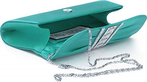 VINCENT PEREZ, Abendtaschen, Clutch, Umhängetaschen, Unterarmtaschen, Satin, Raffung, Strassstein-Applikation, 31,5x9,5x8,5cm (B x H x T) Grün (Smaragd)